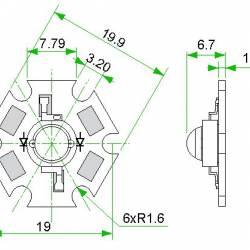 Фито светодиод 3 Вт 455 нм. (синий) на PCB